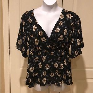Tops - Navy blue & Tan blouse